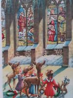 50s Vtg Little GIRLS & Baby FAWN Deer by Church Window CHRISTMAS GREETING CARD