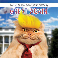 Donald Trump Birthday Card Make Your Birthday Great Again Fluff Funny Cat  Card
