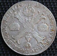 AUTRICHE FRANZ II KRONENTALER 1796 C ARGENT