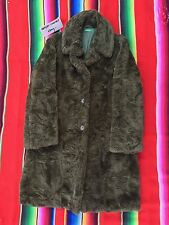 BENETTON womens olive faux fur long trench coat jacket S Made in Italy EUC rare