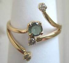 14 carat 585 Gold ring.  Lab Created Alexandrite and Natural Diamond Size O US 7