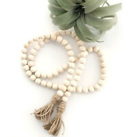 Wood Beaded Garland Farmhouse Rustic Style Beads with Tassles Wall Hanging Decor