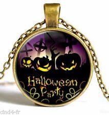 Médaillon vintage + chaine collier bronze /Medallion + chain necklace/ Halloween