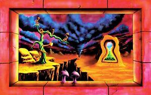 UV Blacklight Poster Trippy Surreal Psy glow art -The Door Unlocked