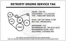 1992 TPI 5.7L Trans Am Retrofit Engine Service Tag Belt Routing Diagram Decal