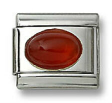 Authentic 18k Italian Charm Genuine Carnelian Stone Oval 9 mm Link Fit Bracelet