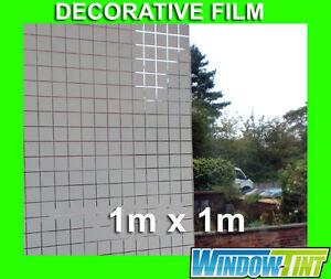 SQUARES DECORATIVE PRIVACY HOME WINDOW FILM - 1m x 1m Roll