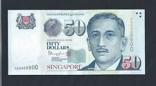 Banknote  - Singapore $50 Dollars Portrait series lucky Number 5DG909900 (#90)