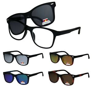 Polarized Magnetic Clip On Shade Sunglasses with Bifocal Reading Glasses