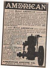 Pubblicità epoca 1914 MOTO AMERICAN ENGINE DETROIT USA advert werbung publicitè
