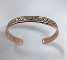 Native American Sterling Silver Navajo Silver Over Copper Design Cuff Bracelet