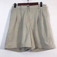 LL Bean Shorts Women Size 10 Beige Pleated Chino