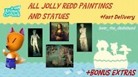 COMPLETE Jolly Redd Paintings and Statues: Animal Crossings New Horizons