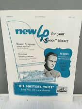 Yehudi Menuhin violin - His Master'S Voice Advertisement 1955 - Mozart Concertos