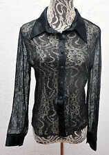 Mesh Shirt Costume Top Adult Women See Through Button Disco Halloween Stage