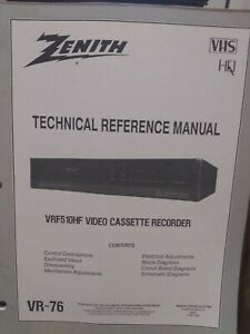 Zenith VRF510HF VCR Player Technical Reference Service Manual