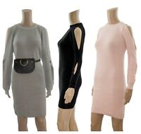 River Island Slit Sleeves Fitted Ribbed High Neck Jumper Knitted Dress