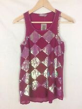 NEW Awear Size 8 Pink Sequin Diamond Chiffon Evening Party Vest Top