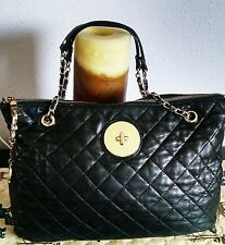 "Women's Gorgeous Medium Black Leather ""DKNY""Designer Shoulder Bag Purse"