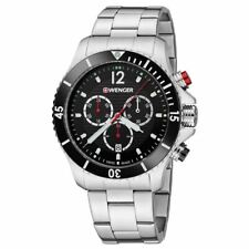 Wenger Men's Watch Seaforce Chrono Black Dial Silver Tone Bracelet 01.0643.109