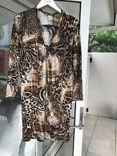 Charlie Brown Dress Animal Print Size 12 Browns Stretch Loose Fit Euc