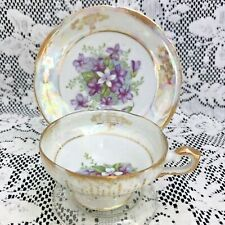 Vintage Royal Sealy China Lusterware Petite Cup & Saucer, Purple Violets, Japan