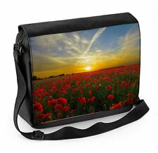 Poppy Field Sunset Laptop Messenger Bag - Floral Flower Poppies