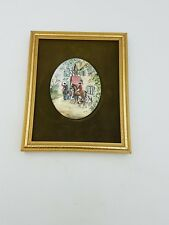 Hand Painted Enamel On Copper Mini Picture Plaque Gold Frame Fox Hunting Scene