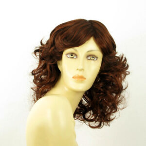 mid length wig for women curly dark brown copper intense ref: FLO 322  PERUK