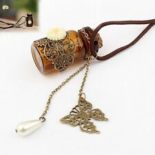 Lady Wishing Bottle Flower Butterfly Pendant Leather Long Sweater Chain Necklace