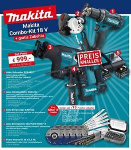 Makita Akku Combo-Kit 18V DDF482Z DGA511Z DJR188Z DHR171Z Power Source Kit 5,0Ah