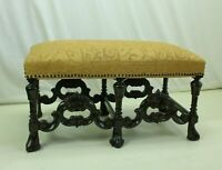 19th Century Carved English Chippendale Window/hallway  Bench; Walnut