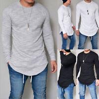 Mens Longline T Shirts Casual Slim Fit Long Sleeve Hipster Plain Tee Shirt Tops