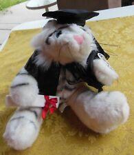 Great Grad White Tiger Stuffed Plush Animal Graduation Diploma Black Cap & Gown