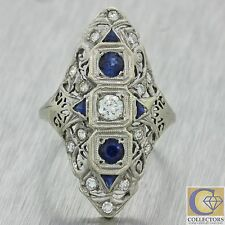 1930s Antique Art Deco 18k Solid White Gold .74ctw Diamond Sapphire Ring