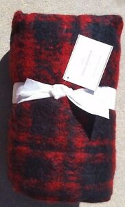"""POTTERY BARN ~MOHAIR PLAID RED/BLACK  THROW ~50"""" X 60"""" ~SOLD OUT EVERYWHERE"""