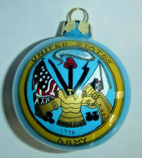 """United States Army Hand Painted Glass Ball Tree Ornament 3-1/4"""" Diameter"""