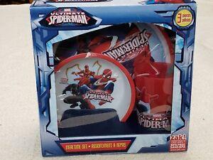 Marvel Ultimate Spider-Man Kids Boy's Girls Meal Time Lunch 4 Piece Set NEW