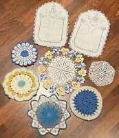 Vintage~Hand Crocheted~Blue Hues~Doilies~Lot of 8~EUC