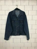 VINTAGE RETRO DISTRESSED BIKER TRUCKER MENS BLUE FESTIVAL DENIM JACKET UK L #223