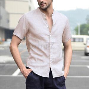 Men's Linen Casual Shirt Tee Collarless Grandad Button Down Short Sleeve Tops