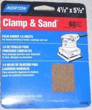 6 Norton 4 1/2 x 5 1/2 Clamp & Sand Discs for 1/4 Sheet Palm Sander 60g