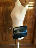 Cynthia Rowley Black Leather Shoulder Bag with Gold Chain