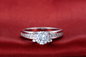 Womens 1.50 CT Bridal Engagement Promise RING ROUND CUT Silver Plated SIZE 6-9