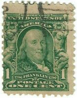 1903-06 Ben Franklin 1 Cent Stamp Cancel Green Margin No Gum No Hinge 300 XF