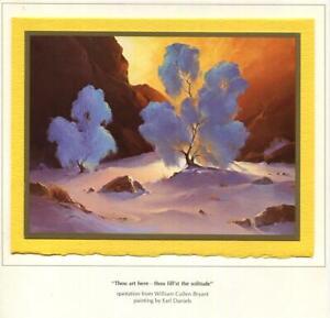 VINTAGE CHRISTMAS DESERT SMOKE TREES SEPIA SUNSET EARL DANIELS GREETING ART CARD