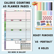 🌸A5 Diet Planner Pages Filofax Kikki Diary CALORIE COUNTING -Stationary🌸