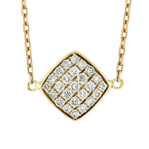 18k Rose Gold .60ct Pave Set Diamond Cushion Pendant & Cable Link Chain Necklace