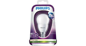 PHILIPS 3W SES LED GOLFBALL P45 2700K - PACK OF TWO