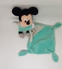 Doudou Mickey Disney Nicotoy plat mouchoir bleu turquoise cube ABCD rayure gris
